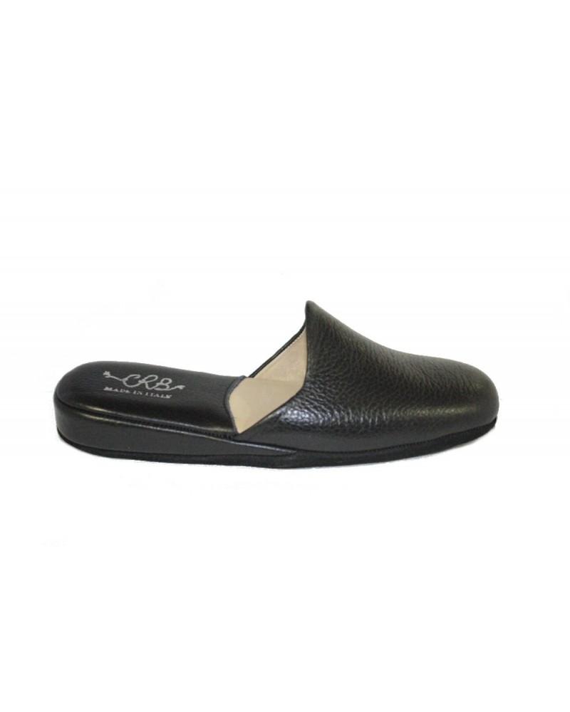 Pantofole crb in pelle nere con fondo scamosciato for Mocassini da camera